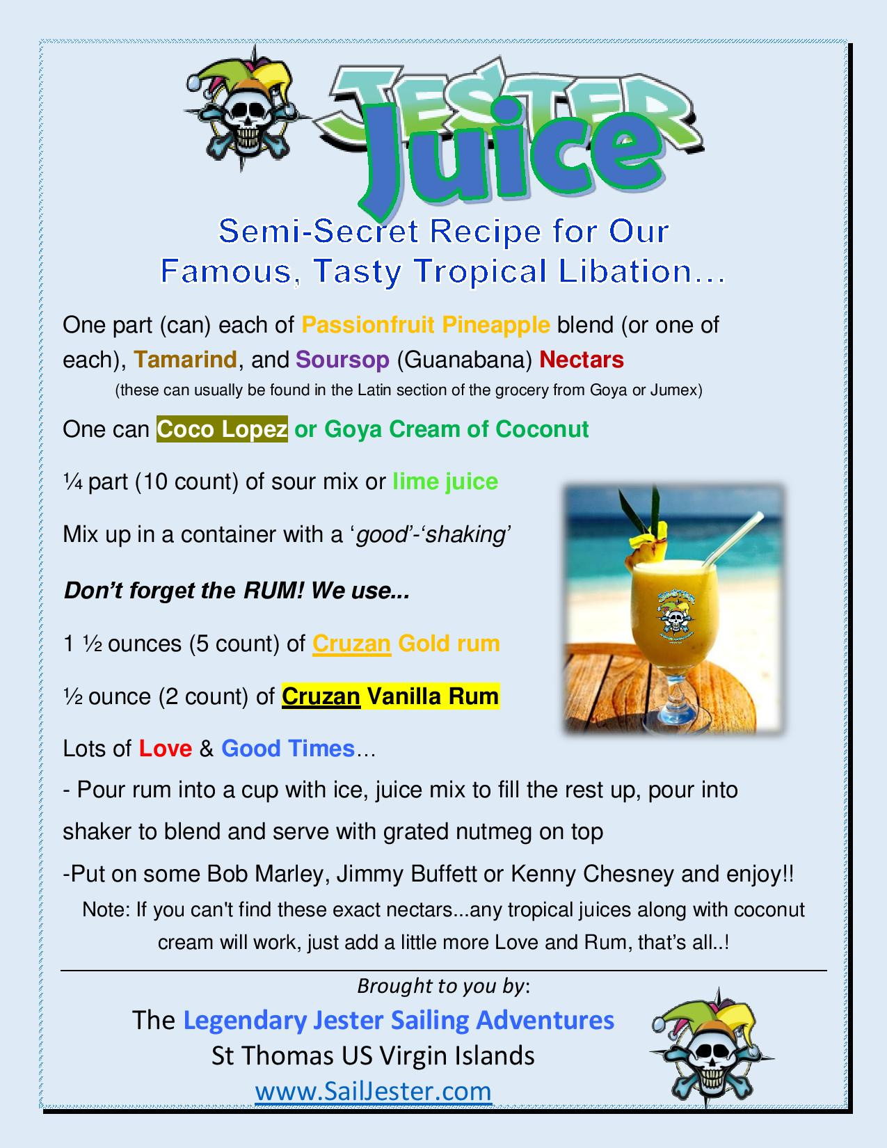 JESTER JUICE Recipe for a tasty tropical libation